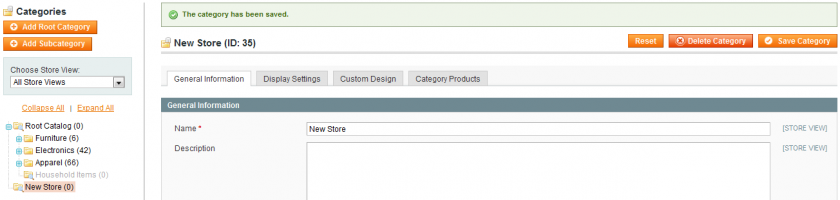 Setting the correct display settings for your new store root category