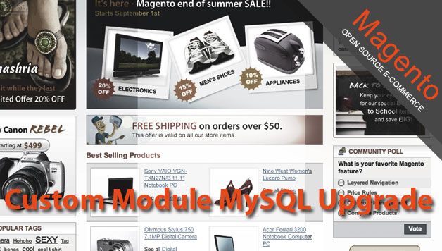 Magento ecommerce store custom module mysql upgrade featured